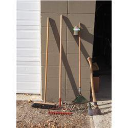 Lot of Garden Tools, Rakes, Axe and Broom