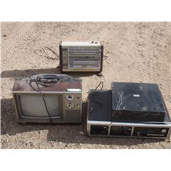 TV, Stereo and Record Player and Heater