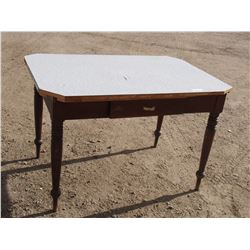 """Vintage Wooden Table 46"""" L by 30.5"""" W by 30"""" T"""