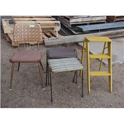 2 Foot Stools, Chair and Metal Step