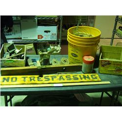 Stanley Sweetheart Level, No Trespassing Sign and Misc