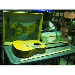 2 Oil Paintings on Canvas (one in Frame) and Guitar Paintings by Elise Kell