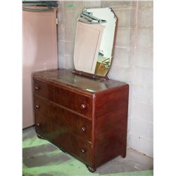 """Vintage 3 Drawer Dresser and Mirror 43"""" by 20"""" by 34"""" T"""