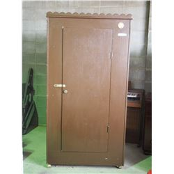 """Wooden Wardrobe on Casters (Converted to Gun Cabinet) 39 by 22 by 72""""T"""