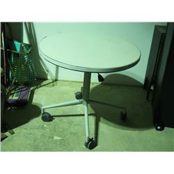 """Round Table on Casters 30"""" Diameter with Adjustable Top 36.5"""" Extended and Folds Down to 27"""""""