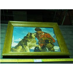 Picture in Heavy Wooden Frame RCMP & Dog 24.5 by 20.5""