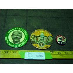 3 Vintage Election Pin Backs