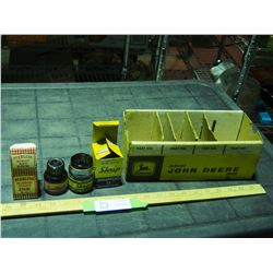 2 Ink Bottles with Original Boxes and John Deere Parts Box (Cardboard)