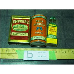 Vintage Spice Tins and Glass Bottle