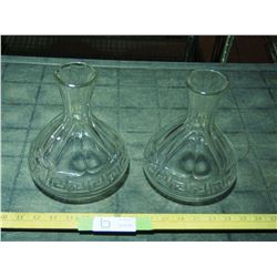 2X THE MONEY - Pair of Early Ships Decanters (Greek Key Design)