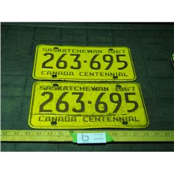 Pair of 1967 SK License Plates