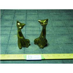2 Brass Cat Ornaments