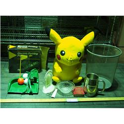 Trash Can, Stuffed Pokemon, Electric Putter and Misc
