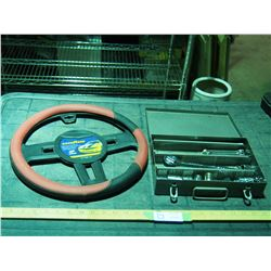 Steering Wheel Cover Plus Assorted Sockets, Wrenches and Rachet