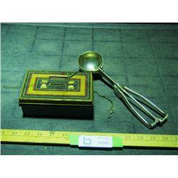 Money Box with Key and Vintage Ice Cream Scoop