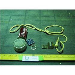 Boy Scouts Whistle, Coca Cola Pencil Sharpener and Evin Rude Measuring Tape