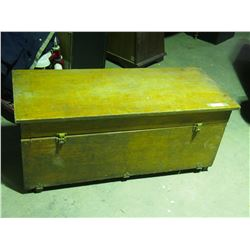 """Wooden Storage Box 44 by 18 by 19"""" T - Front Opening, Top Doesn't Open"""