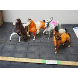 5 Small Horse Figurines