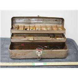 Vintage Tackle Box with Hooks