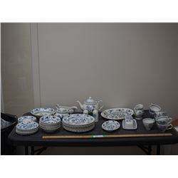 44 Piece Blue Nordic Class J& G Meakin and Johnson Brothers Nordic Dish Set (Damages In Description)