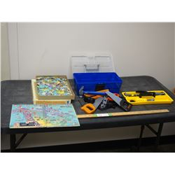 Kids Plastic Tool Box and Tools Set Plus Historical Map of Canada Puzzle