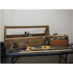 2 Wooden Tool Boxes with Tools