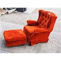 Vintage Orange Rocker Chair and Stool