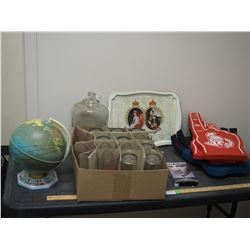 Elvis VHS, Globe, Budweiser Cups, Tray and Misc