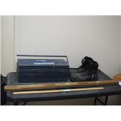 Exact Level, Metal Tool Box with Few Contents, Size 12 Work Boots and 2 Sprinklers