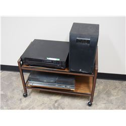 Yamaha Sub Woofer, Sony 5 Disc Player, and Realistic Record Player on Stand with Casters