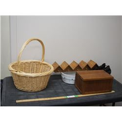 Wicker Basket, Wooden Storage Box and Misc