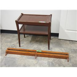 "Wooden Table (24 by 15 by 23.5"" T) and Wooden Shelf 46"" L"