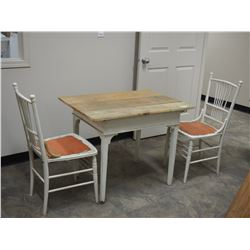 "Wooden Mennonite Table Hand Made with 2 Chairs 36.5 by 26.75 by 28.5"" T"