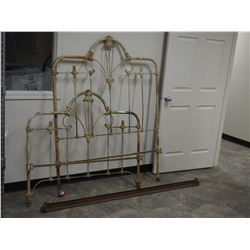 "Wrought Iron Bed Frame Headboard and Rails 48"" W"