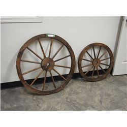 "2 Wooden Wheels (23.5 and 31.5"" Diameter)"