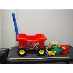 Kids Plastic Gardening Wagon With Tools