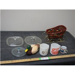Collector Cups, Duck Ornament, Glass Lids and Misc