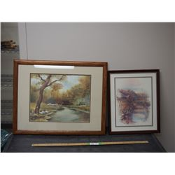 2 Pictures in Wooden Frames RE Harnett