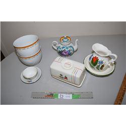 USSR Teapot, Dutch Butter Keep, and Soup Bowls