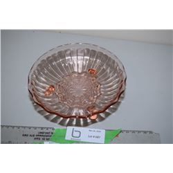 Pink Glass Bowl Footed