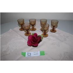 6 Stemmed Egg Cups and Napoleon Ceramic Rose