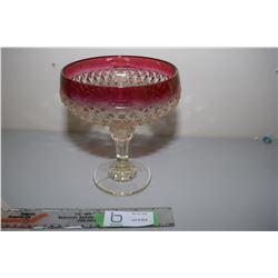 Stemmed Cranberry Glass Fruit Bowl
