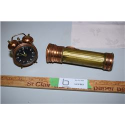 Ever-Ready Brass and Copper Flashlight and Brass Clock