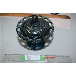 Blue Grape Covered Stemmed Open Edge Candy Dish
