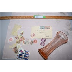 Pink Vase and WWI Stamps