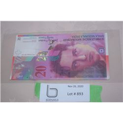 20 Swiss Franc (= 29 CDN Dollars)