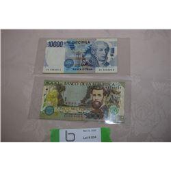 10000 Italy Lire & 5000 Columbia Pesos