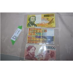 200 Belgium Francs. 10 Euro and 100 Belgium Currency