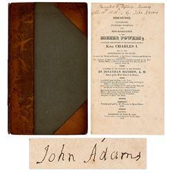 John Adams Signed Book re American Revolution.  Rare.
