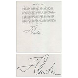 Jimmy Carter Signed Souvenir Statement on Egypt-Israel